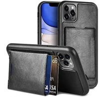 N.Brandz Leather Protective case for iPHone 2020 6.1 with Kickstand&wallet-BK